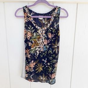 🚘MOVING🚘 ANTHROPOLOGIE Tiny Floral Tank Top SP